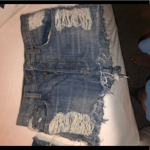 LF Carmar high waisted distressed shorts